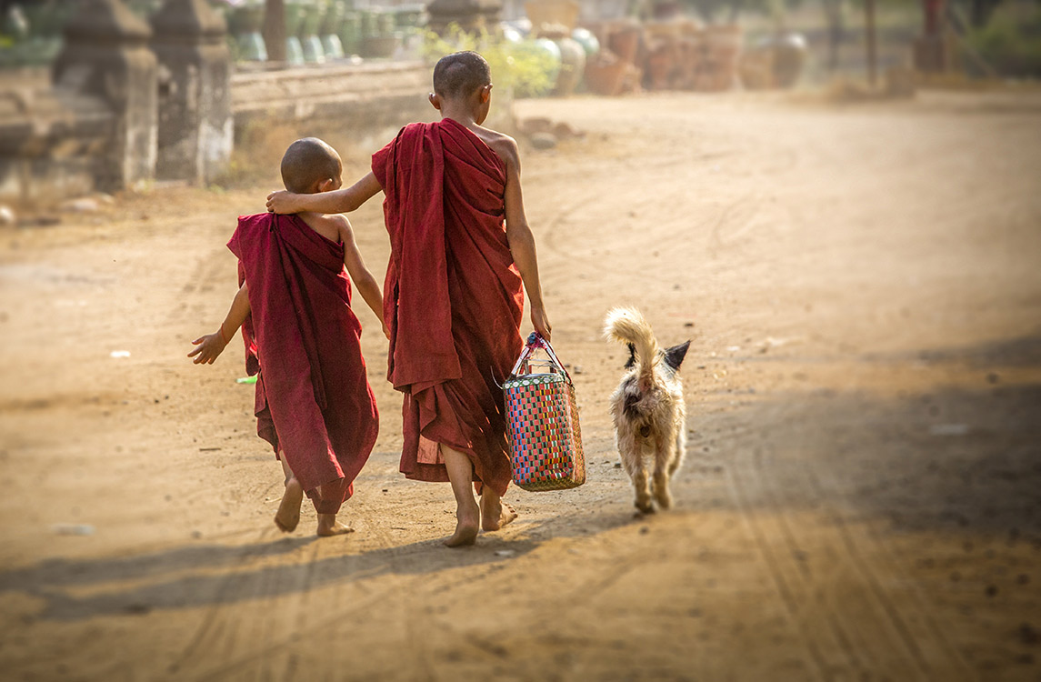 Monks and dog, photo © Chris Boswell, 2014