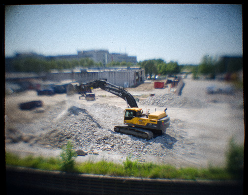 © Martin Jørgensen. Excavator, 2014. Digital file. Camera obscura image captured with a Nikon D5100 and a Sigma 30mm f/1.4 mounted behind it.